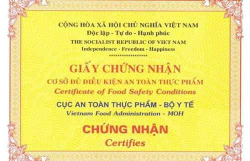 giấy chứng nhận vệ sinh an toàn thực phẩm của Bộ Y Tế