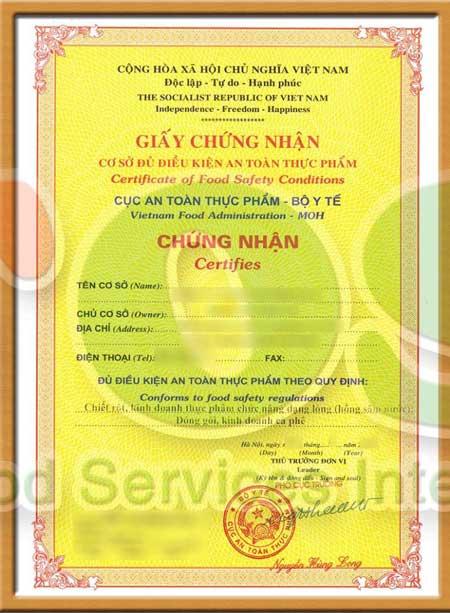 giấy chứng nhận cơ sở đủ điều kiện an toàn thực phẩm của Bộ Y Tế