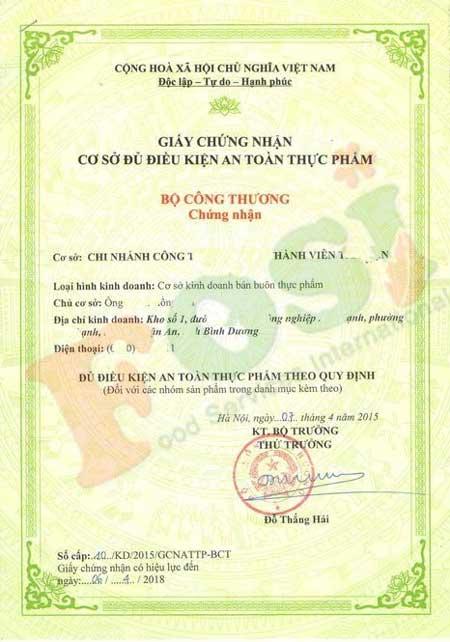Mẫu giấy chứng nhận an toàn thực phẩm của Bộ Y Tế