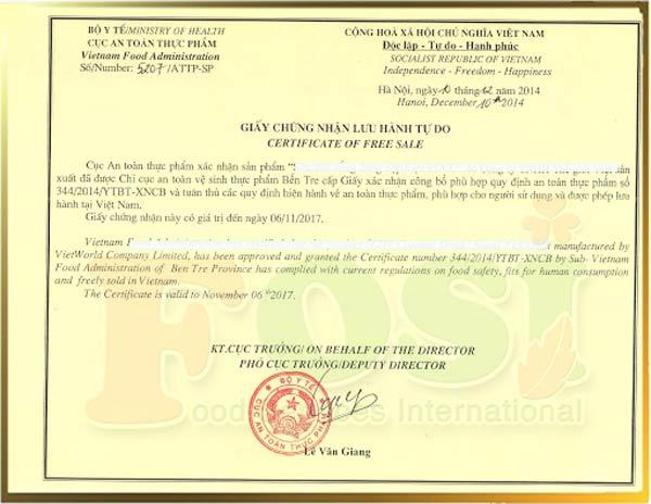 Mẫu giấy chứng nhận lưu hành tự do