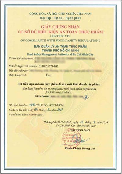mẫu giấy chứng nhận an toàn thực phẩm