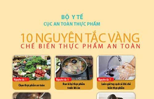 10 nguyên tắc vàng trong chế biến thực phẩm an toàn