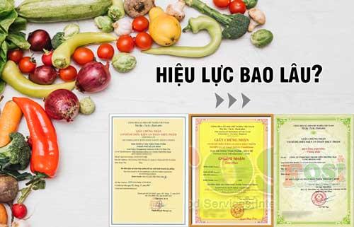 Giấy chứng nhận an toàn thực phẩm có thời hạn bao lâu