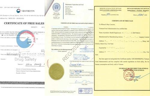CFS - Biểu mẫu giấy chứng nhận lưu hành tự do các nước trên Thế Giới