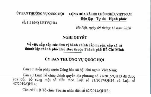 Nghị quyết 1111/NQ-UBTVQH14 về việc sắp xếp đơn vị hành chính và thành lập TP. Thủ Đức thuộc TP.HCM